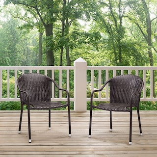 Aldo Set of 2 Stackable Outdoor Arm Chairs - Brown
