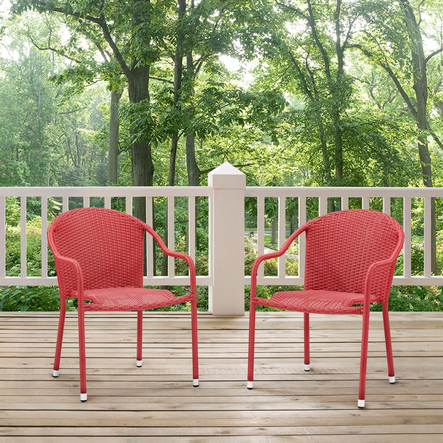 Aldo Set Of 2 Stackable Outdoor Arm Chairs   Red