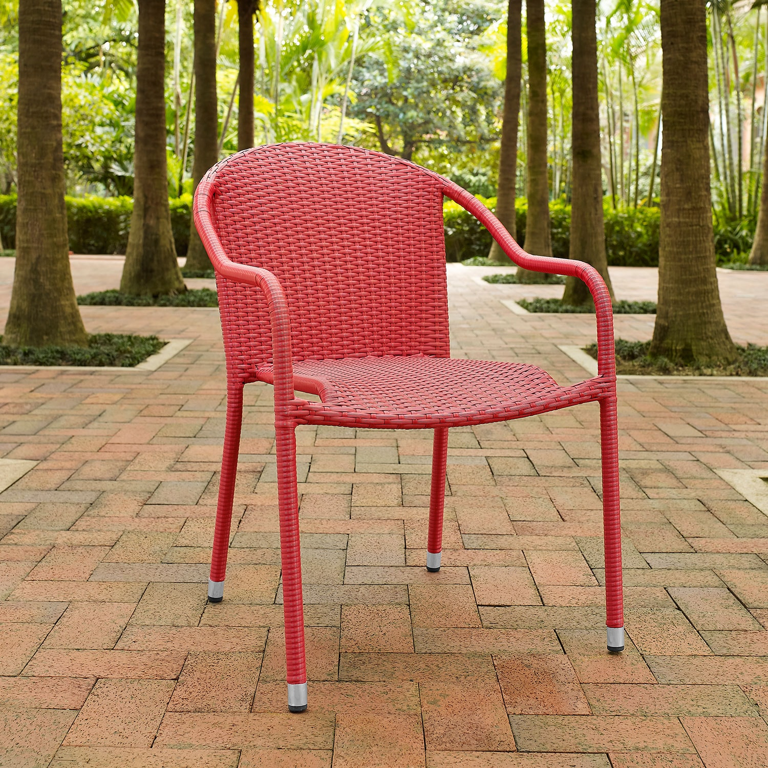 Outdoor Furniture - Aldo Set of 4 Stackable Outdoor Arm Chairs - Red