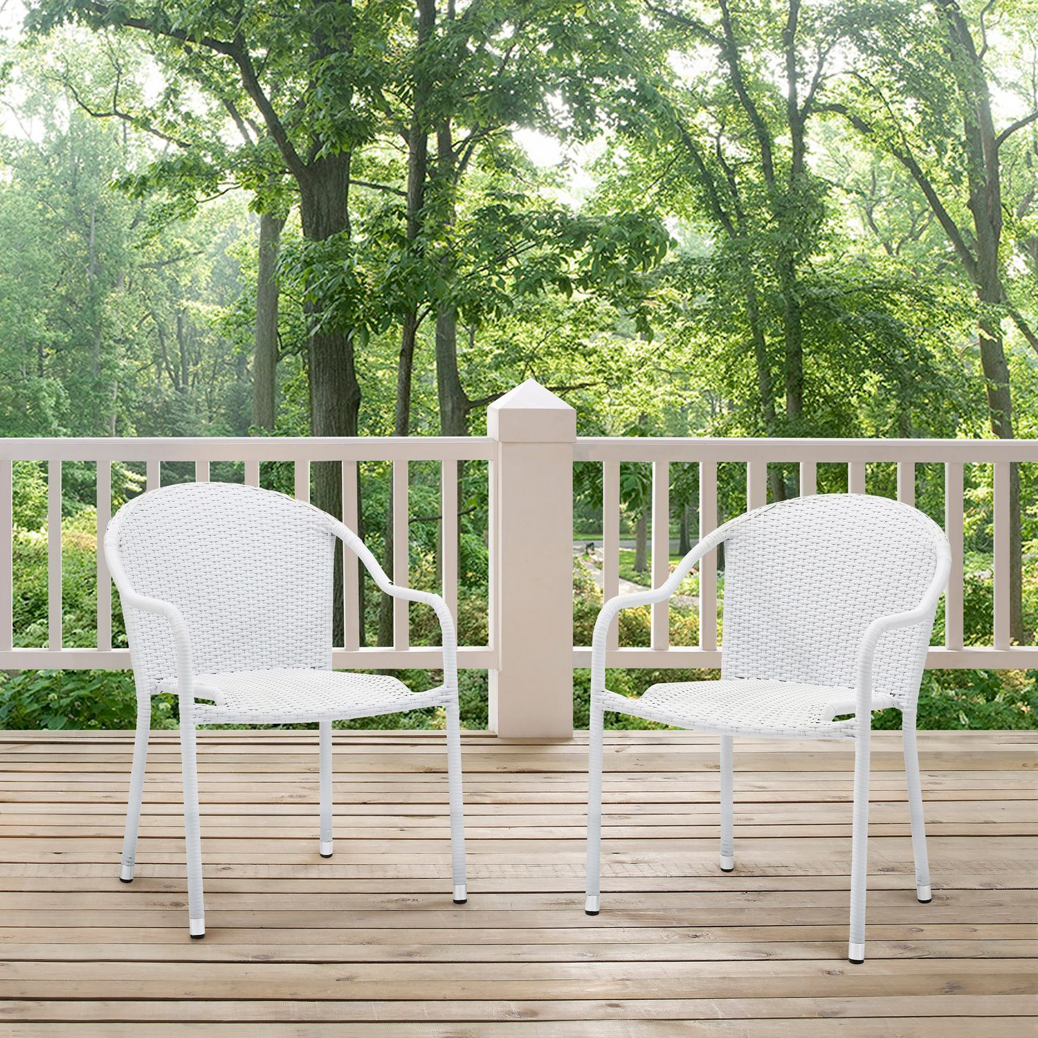 Aldo set of 2 stackable outdoor arm chairs white for White outdoor furniture
