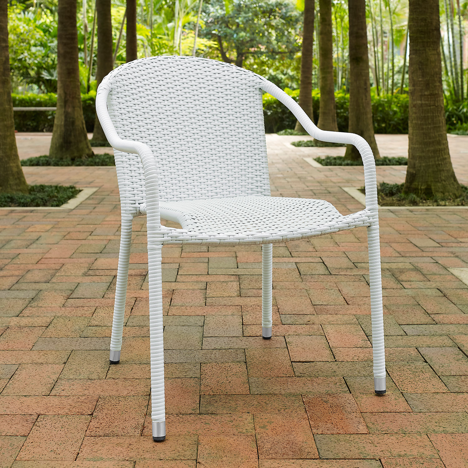 Aldo Set Of 4 Stackable Outdoor Arm Chairs   White ...