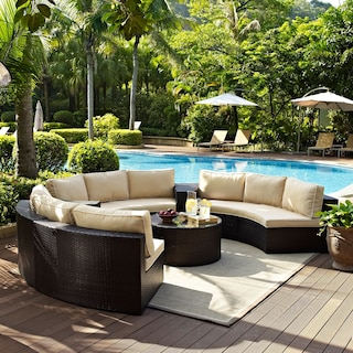 Biltmore 5-Piece Outdoor Sectional and Coffee Table Set - Brown