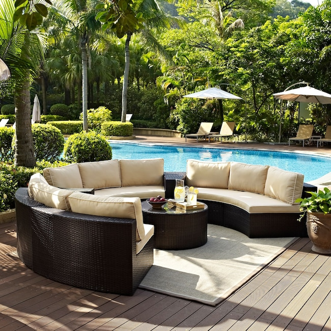 Outdoor Furniture - Biltmore 5-Piece Outdoor Sectional and Coffee Table Set - Brown