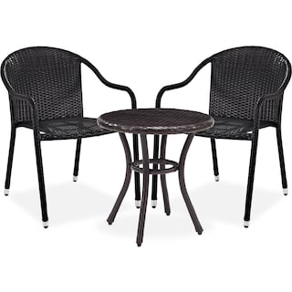 Aldo Outdoor Café Table and 2 Arm Chairs - Brown