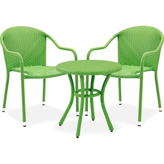 Aldo Outdoor Café Table and 2 Arm Chairs - Green