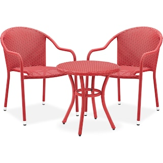 Aldo Outdoor Café Table and 2 Arm Chairs - Red
