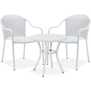 Aldo Outdoor Café Table and 2 Arm Chairs - White
