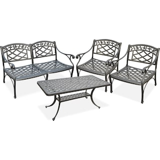 Hana Outdoor Loveseat, 2 Chairs and Coffee Table Set - Black