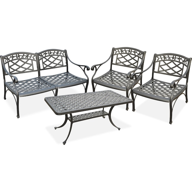 Outdoor Furniture - Hana Outdoor Loveseat, 2 Chairs and Coffee Table Set - Black