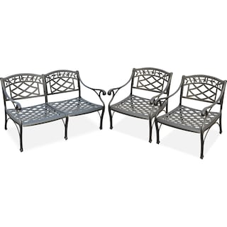Hana Outdoor Loveseat and 2 Chairs Set - Black