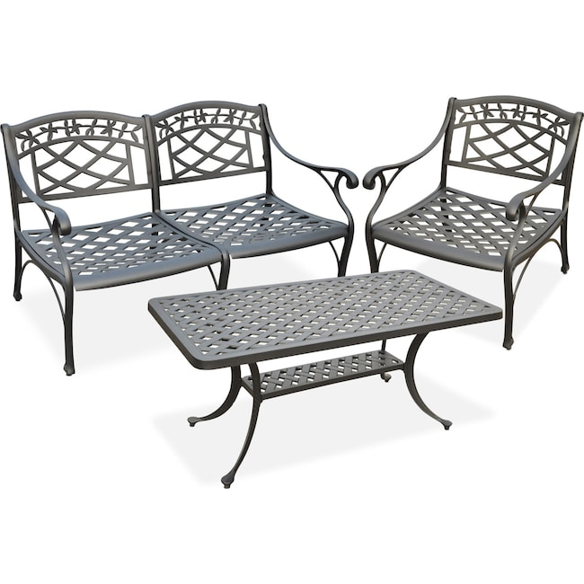 Outdoor Furniture - Hana Outdoor Loveseat, Chair and Coffee Table Set - Black