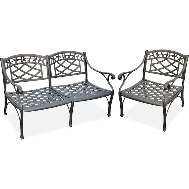 Outdoor Furniture - Hana Outdoor Loveseat and Chair Set