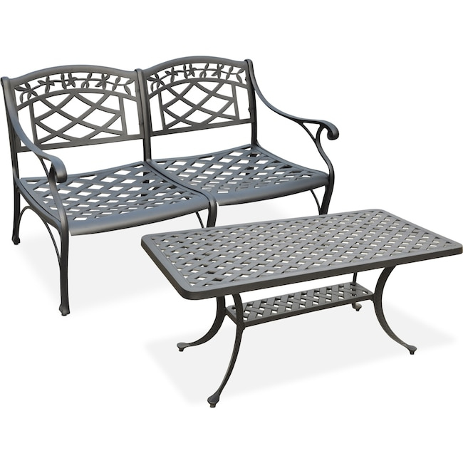 Outdoor Furniture - Hana Outdoor Loveseat and Coffee Table Set - Black
