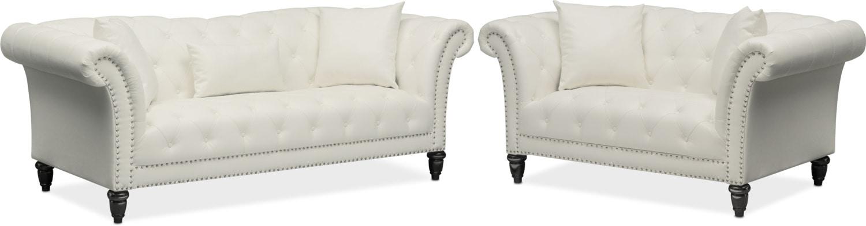Living Room Furniture   Marisol Sofa And Loveseat Set   White