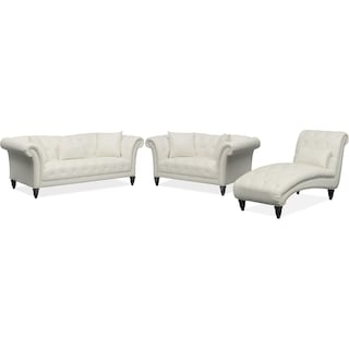 Marisol Sofa, Loveseat and Chaise Set - White