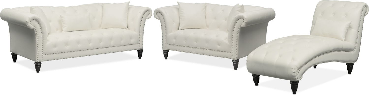 Living Room Furniture   Marisol Sofa, Loveseat And Chaise Set   White