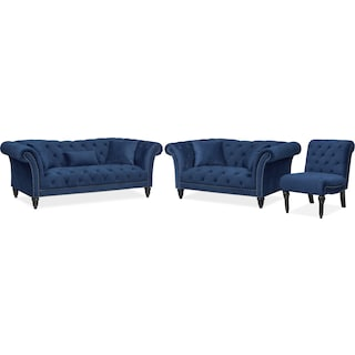 Marisol Sofa, Loveseat and Chair Set - Blue