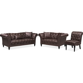 Marisol Sofa, Loveseat and Chair Set - Brown
