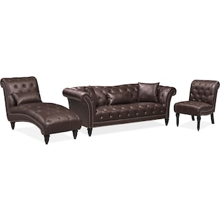 Marisol Sofa, Chaise and Chair Set - Brown