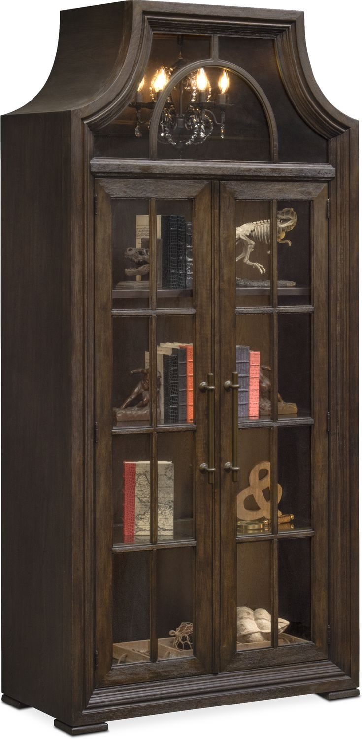 Lancaster Display Cabinet With Hutch   Truffle
