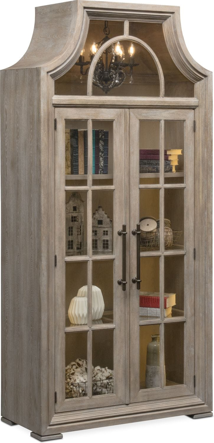 Accent And Occasional Furniture   Lancaster Display Cabinet With Hutch    Parchment