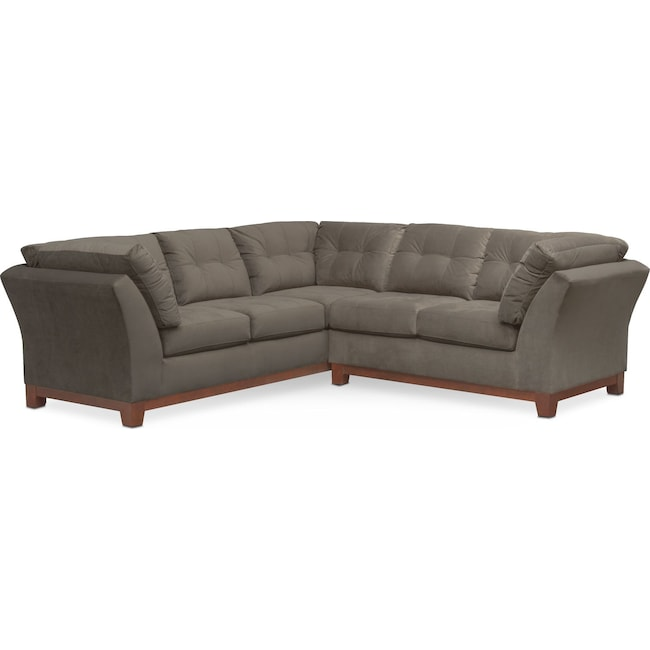 Living Room Furniture - Sebring 2-Piece Sectional with Right-Facing Loveseat - Gray