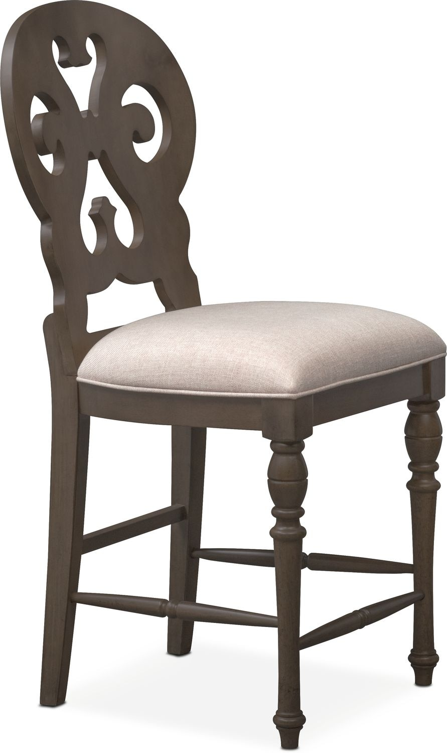 Charleston Counter Height Scroll Back Stool Gray