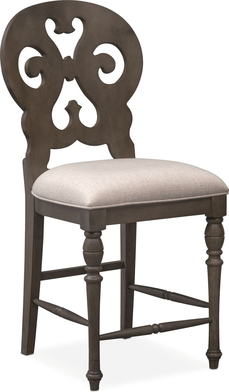 Dining Room Furniture - Charleston Counter-Height Scroll-Back Stool