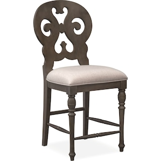 Charleston Counter-Height Scroll-Back Stool - Gray