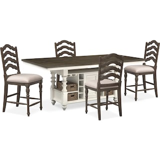 Charleston Counter-Height Dining Table and 4 Stools - Gray and White
