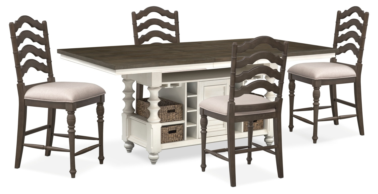 Charleston Counter Height Dining Table And 4 Stools   Gray And White