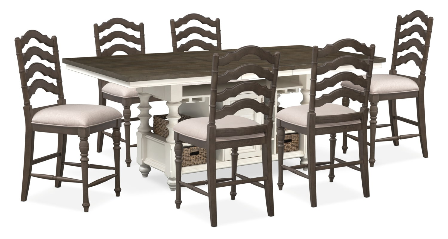 Charleston Counter Height Dining Table And 6 Stools Gray