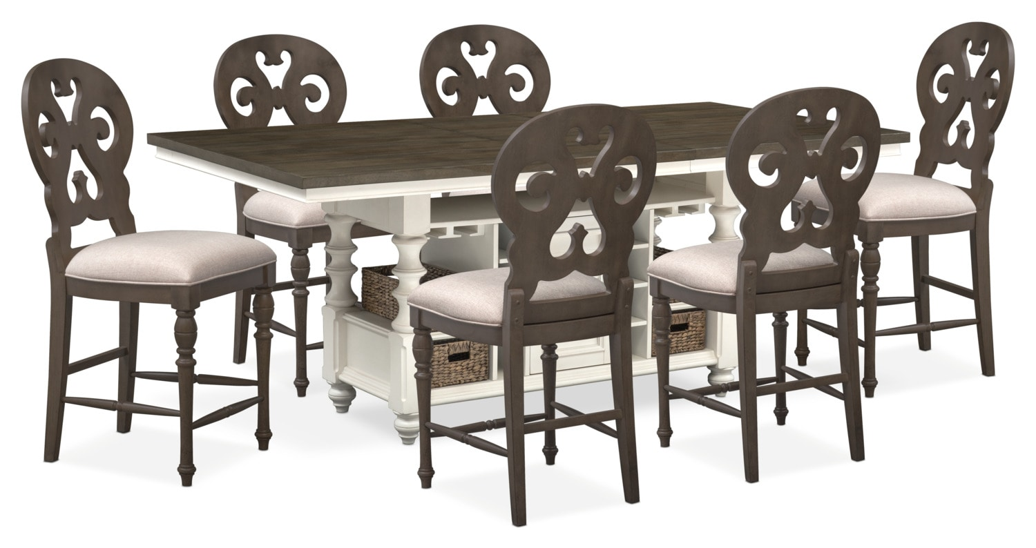 charleston dining table and 6 scrollback stools gray and white
