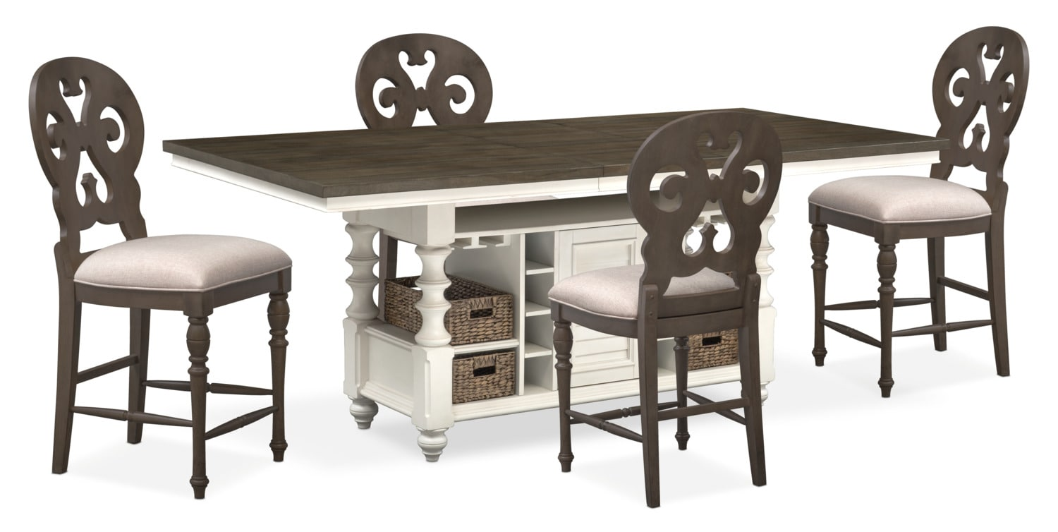 Charleston Counter Height Dining Table And 4 Scroll Back Stools   Gray And  White