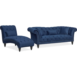 Marisol Sofa and Chaise Set - Blue