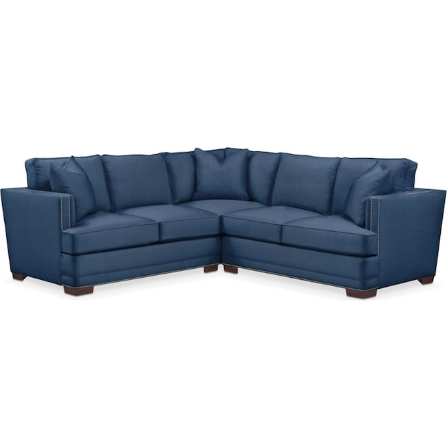 Living Room Furniture - Arden 2 Pc. Sectional with Right Arm Facing Loveseat- Cumulus in Hugo Indigo