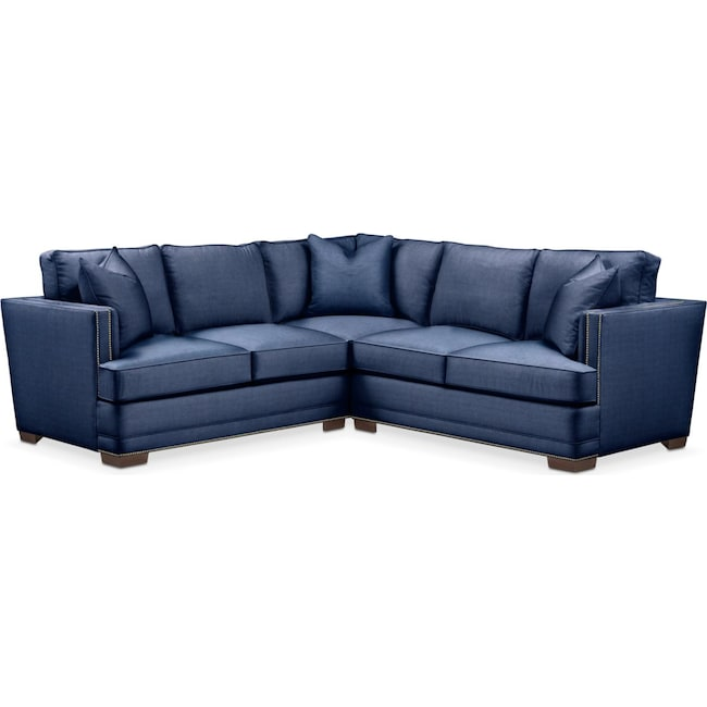 Living Room Furniture - Arden 2 Pc. Sectional with Right Arm Facing Loveseat- Cumulus in Abington TW Indigo