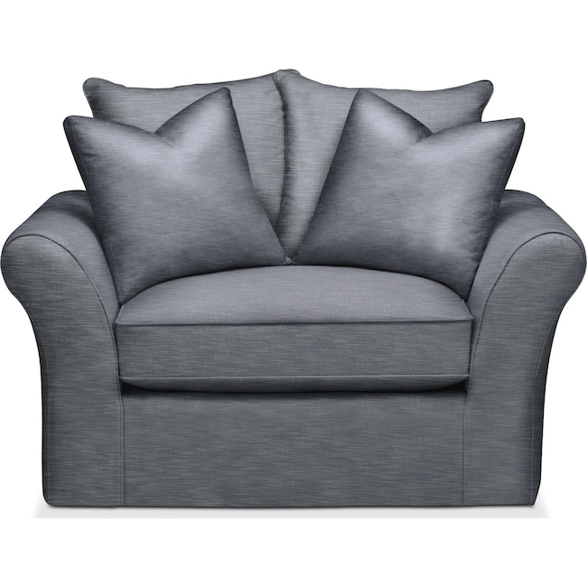 Living Room Furniture - Allison Chair and a Half- Cumulus in Dudley Indigo