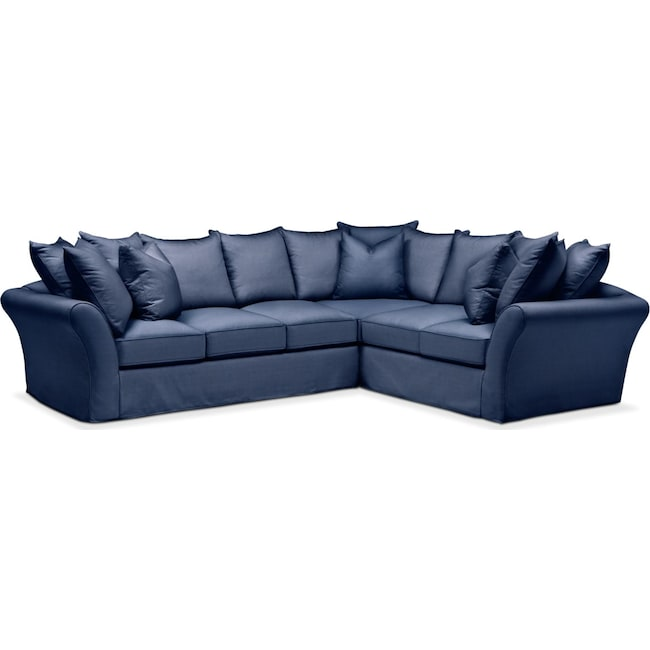 Living Room Furniture - Allison 2 Pc. Sectional with Left Facing Sofa- Cumulus in Abington TW Indigo