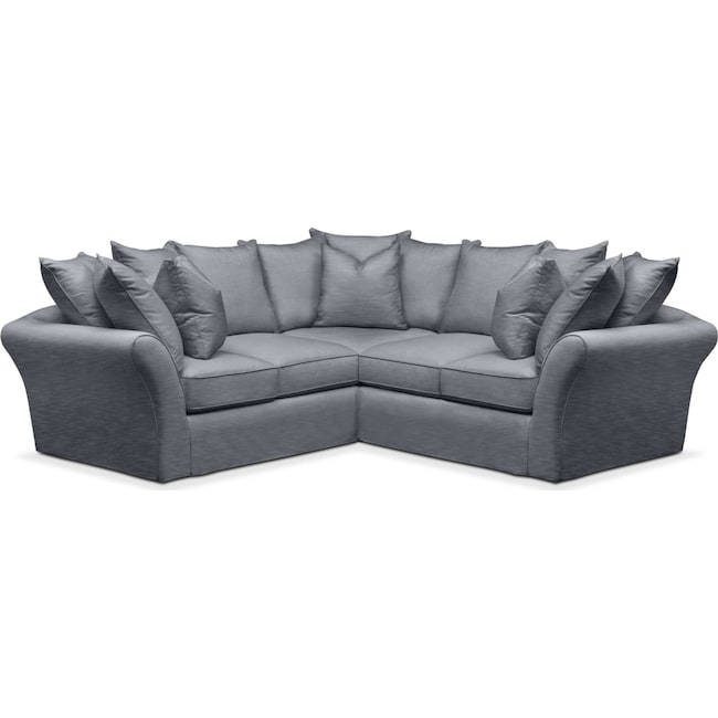 Living Room Furniture - Allison 2-Piece Sectional with Right-Facing Loveseat - Cumulus in Dudley Indigo