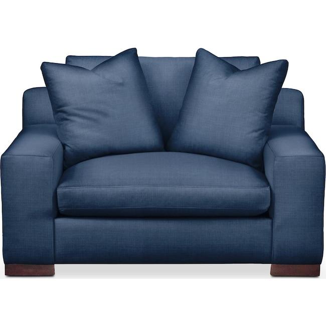 Living Room Furniture - Ethan Chair and a Half- Cumulus in Hugo Indigo