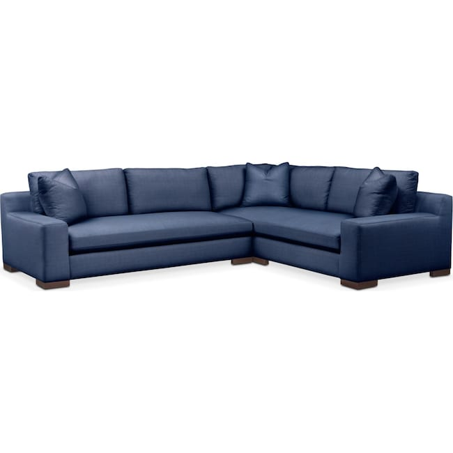 Living Room Furniture - Ethan 2 Pc. Sectional with Left Arm Facing Sofa- Cumulus in Abington TW Indigo