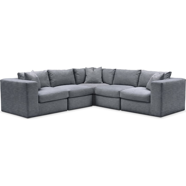 Living Room Furniture - Collin 5 Pc. Sectional - Cumulus in Dudley Indigo