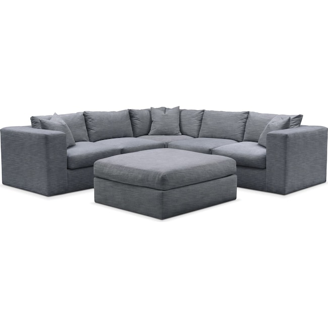 Living Room Furniture - Collin 6 Pc. Sectional- Cumulus in Dudley Indigo