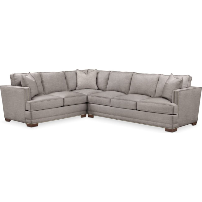 Living Room Furniture - Arden 2 Pc. Sectional with Right Arm Facing Sofa- Cumulus in Curious Silver Rine