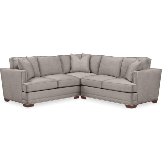 Living Room Furniture - Arden 2 Pc. Sectional with Right Arm Facing Loveseat- Cumulus in Curious Silver Rine