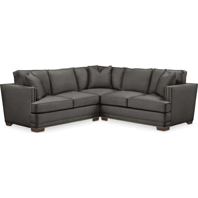 Living Room Furniture - Arden 2 Pc. Sectional with Right Arm Facing Loveseat- Cumulus in Statley L Sterling