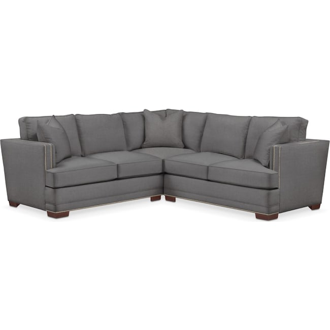 Living Room Furniture - Arden 2-Piece Sectional with Right-Facing Loveseat - Cumulus in Hugo Graphite