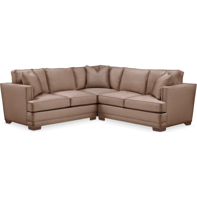 Living Room Furniture - Arden 2 Pc. Sectional with Right Arm Facing Loveseat- Cumulus in Abington TW Antler