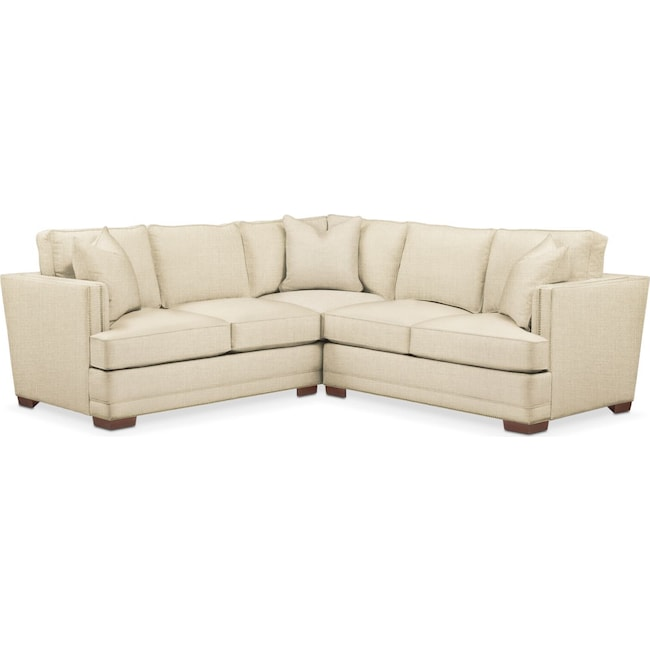 Living Room Furniture - Arden 2 Pc. Sectional with Right Arm Facing Loveseat- Cumulus in Anders Cloud